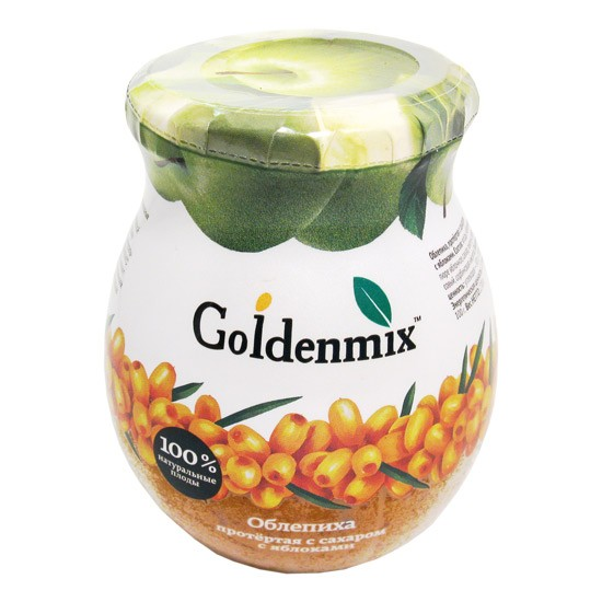 Goldenmix 100% Natural Pureed Sea Buckthorn with Sugar and Apple, 9.52oz (270g)